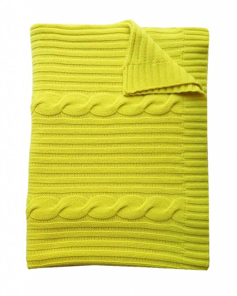 "CASHMERE ROMA CABLE KNIT THROW: 50"" X 72"": NEON YELLOW"