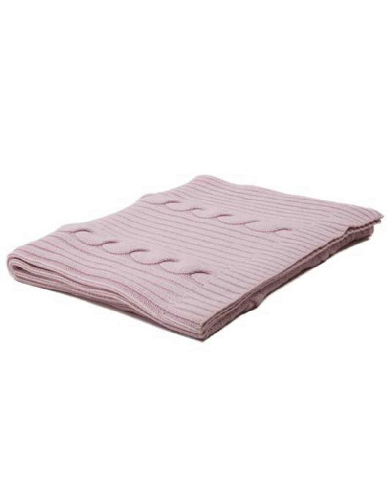 "CASHMERE ROMA CABLE KNIT THROW: 50"" X 72"": PINK"