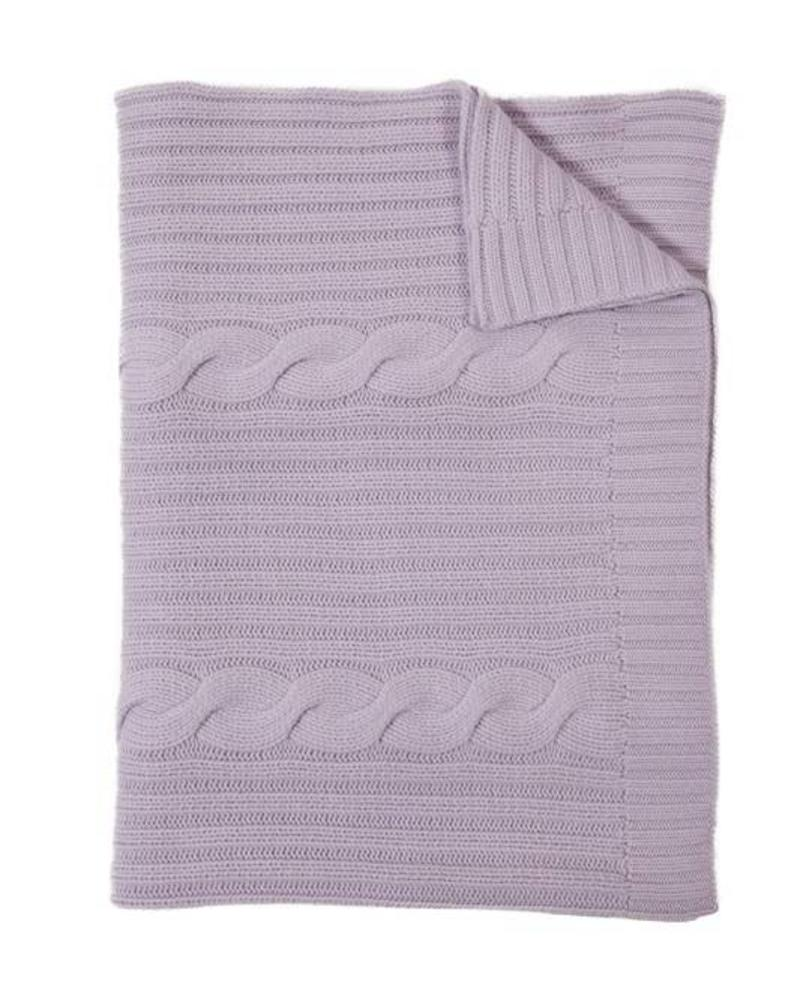 "CASHMERE ROMA CABLE KNIT THROW: 50"" X 72"": LILAC"