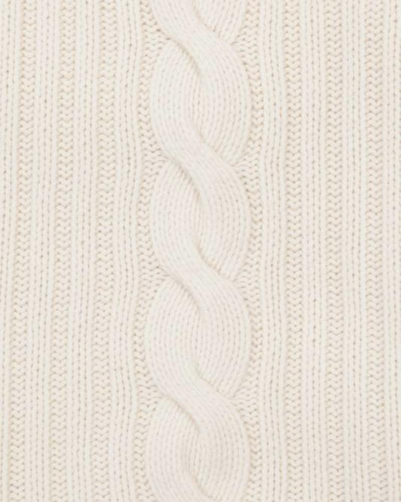"CASHMERE ROMA CABLE KNIT THROW: 50"" X 72"": IVORY"