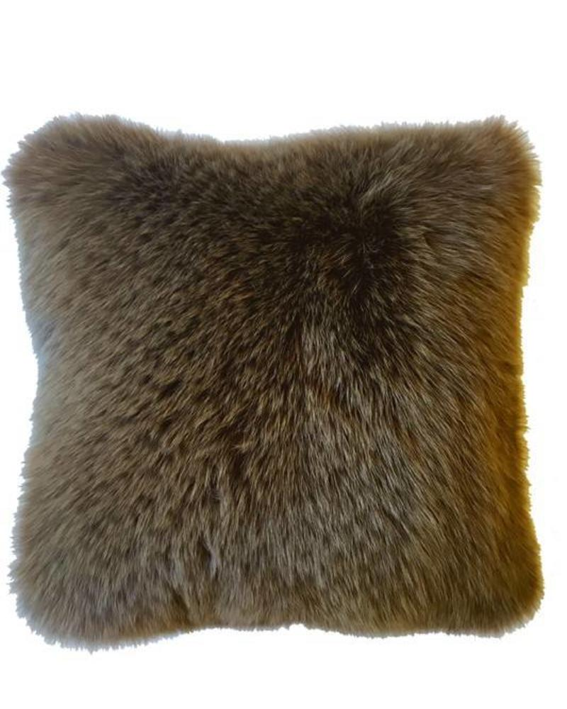 "CASHMERE PILLOW WITH FUR: 17"" X 17"": TABACCO"