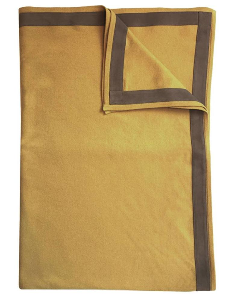 """PALERMO CASHMERE THROW WITH SUEDE BORDER: 50"""" X 72"""": HONEY"""