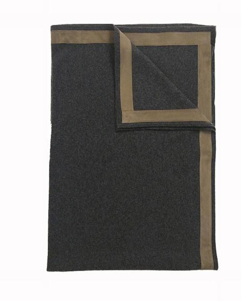 """PALERMO CASHMERE THROW WITH SUEDE BORDER: 50"""" X 72"""": CHARCOAL"""