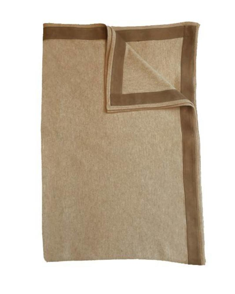 """PALERMO CASHMERE THROW WITH SUEDE BORDER: 50"""" X 70"""": SAND"""