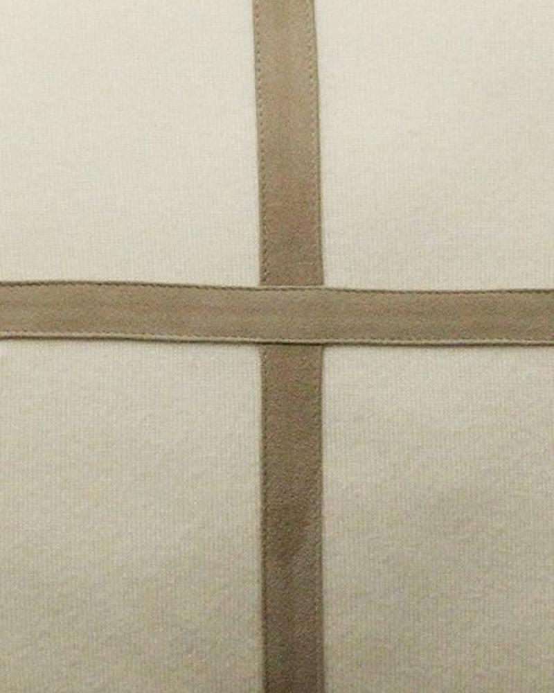 """PALERMO CASHMERE PILLOW WITH CROSS SUEDE: 21"""" X 21"""": IVORY"""
