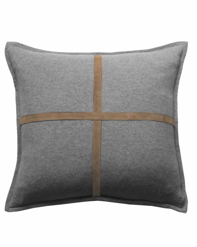 "PALERMO CASHMERE PILLOW WITH CROSS SUEDE: 21"" X 21"": GRAY"