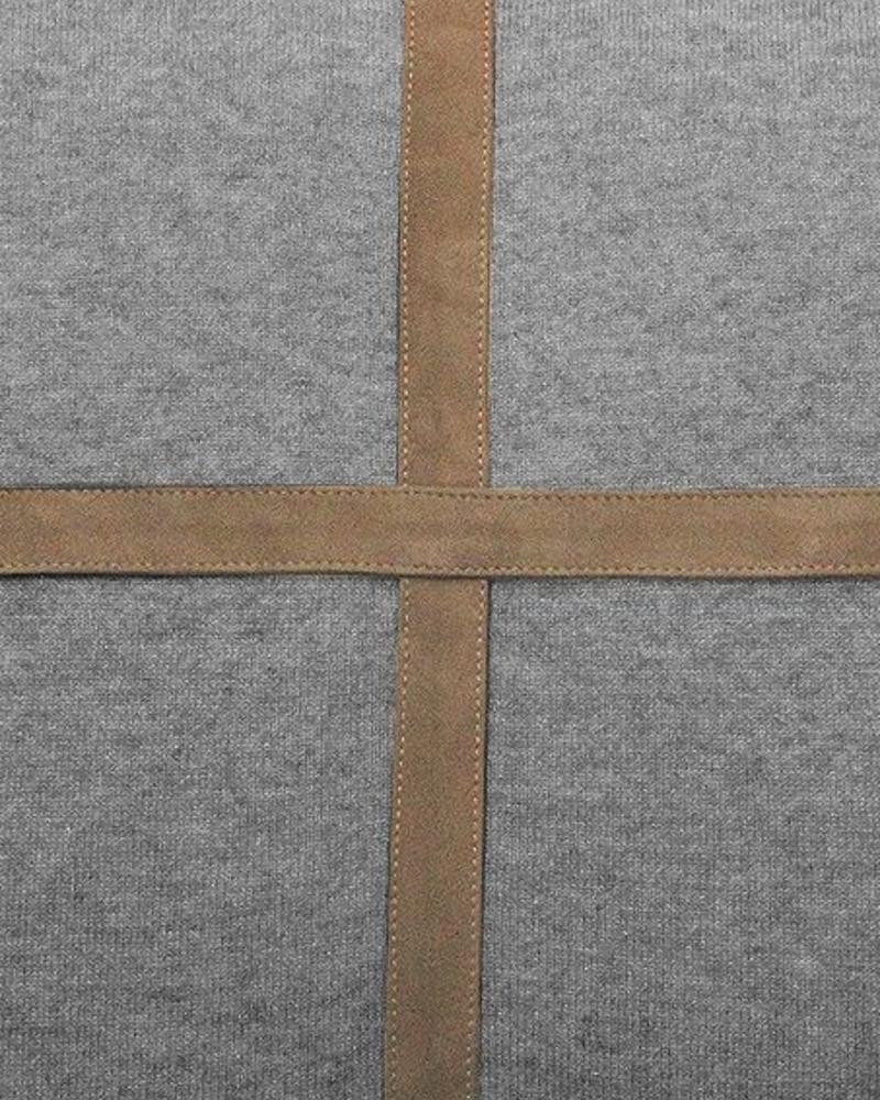 """PALERMO CASHMERE PILLOW WITH CROSS SUEDE: 21"""" X 21"""": GRAY"""