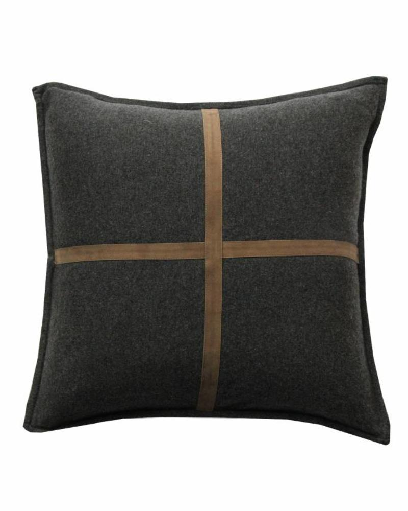 "PALERMO CASHMERE PILLOW WITH CROSS SUEDE: 21"" X 21"": CHARCOAL"