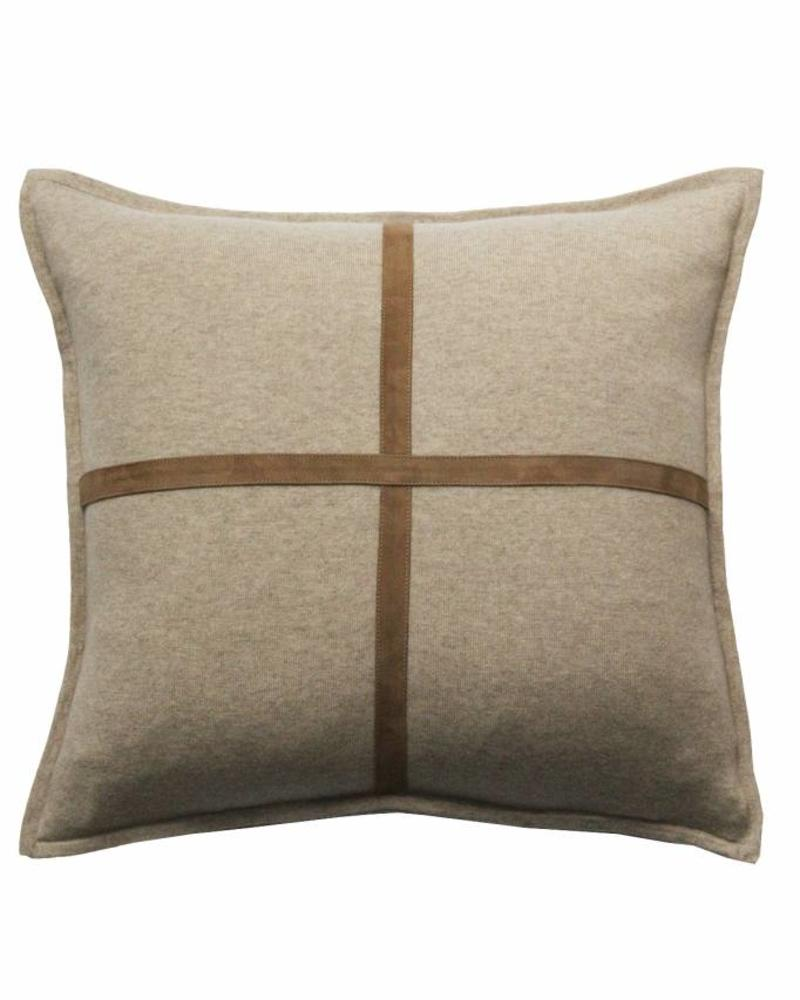 "PALERMO CASHMERE PILLOW WITH CROSS SUEDE: 21"" X 21"": BEIGE"