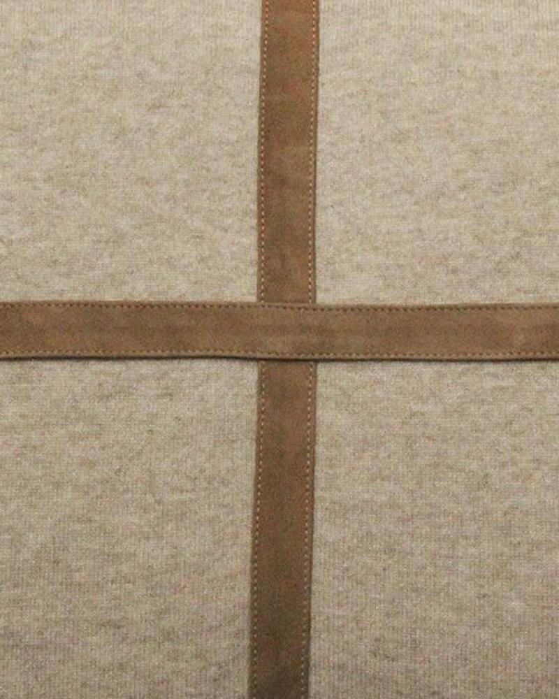 """PALERMO CASHMERE PILLOW WITH CROSS SUEDE: 21"""" X 21"""": BEIGE"""