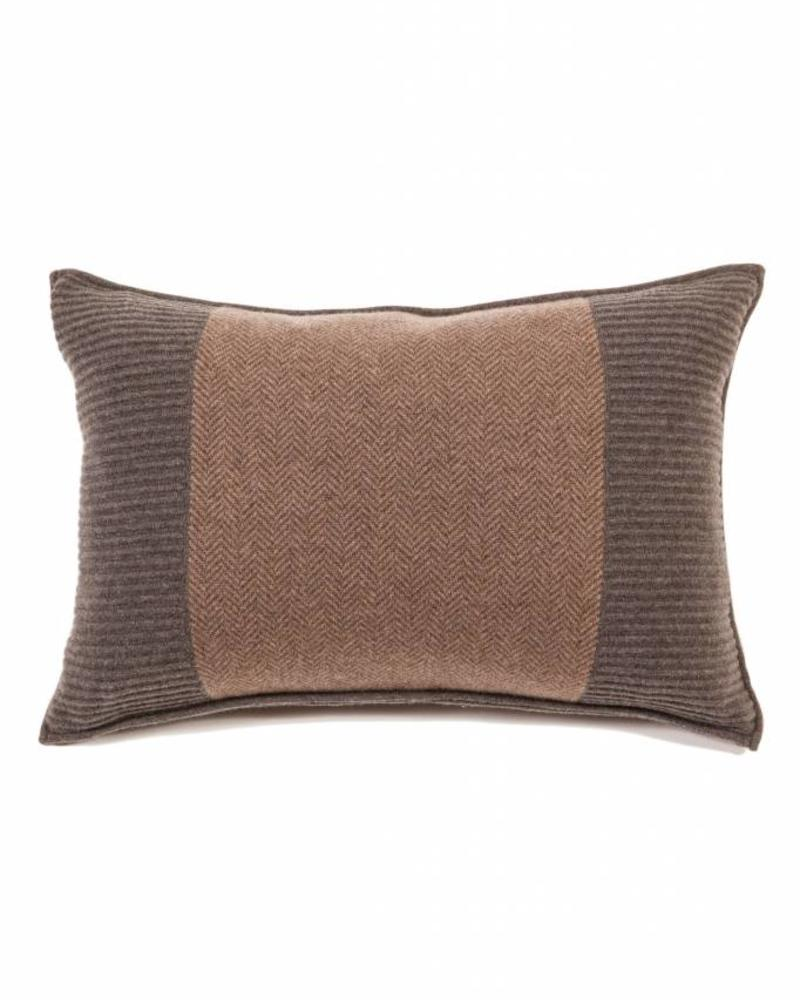 "OXFORD HERRINGBONE & RIBBED PILLOW : 16"" X 24"": ANTRACITE-TAUPE"