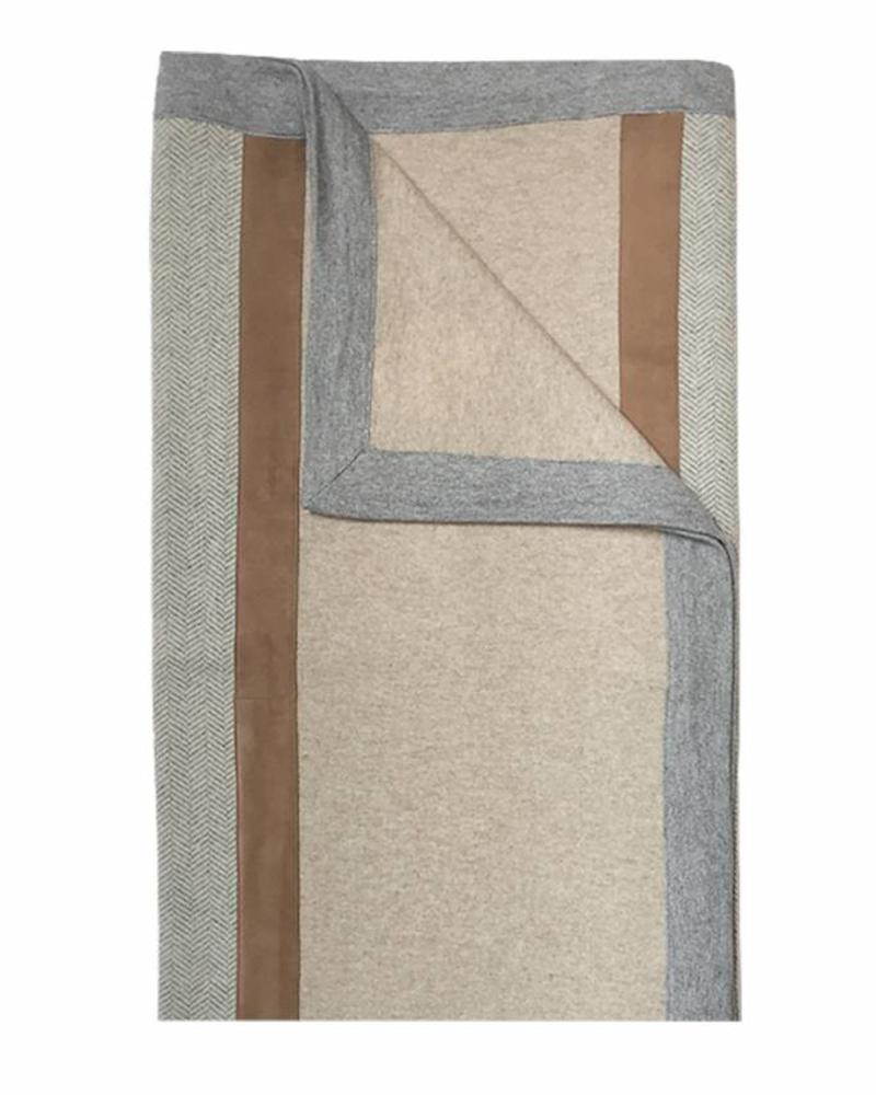 """LONDON CASHMERE THROW WITH SUEDE DETAIL: 52"""" X 72"""": SAND-GRAY"""