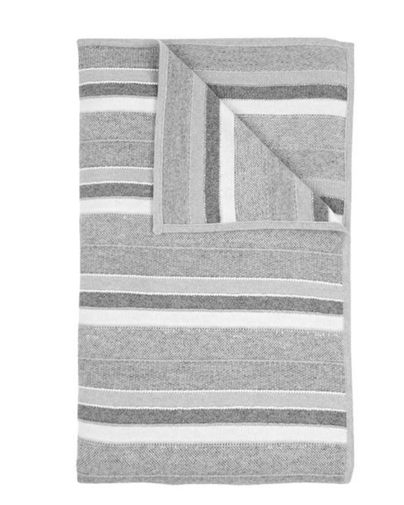 "CASHMERE KENT STRIPE JACQUARD THROW:50"" X 72"": PEARL-GRAY-IVORY"