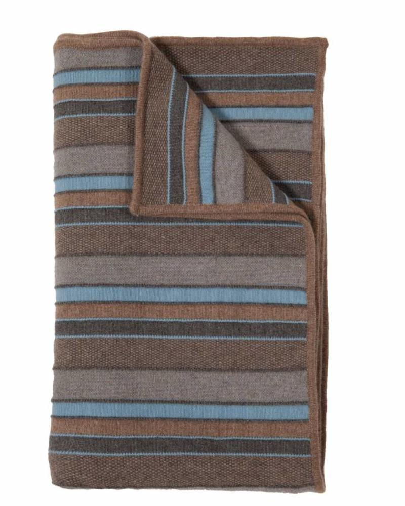 "CASHMERE KENT STRIPE JACQUARD THROW: 50"" X 72"": GRAY-TAUPE-BLUE"