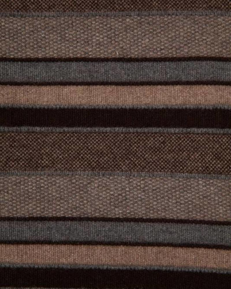 "CASHMERE KENT STRIPE JACQUARD THROW: 50"" X 72"": ANTHRACITE-TAUPE-CHOCOLATE"