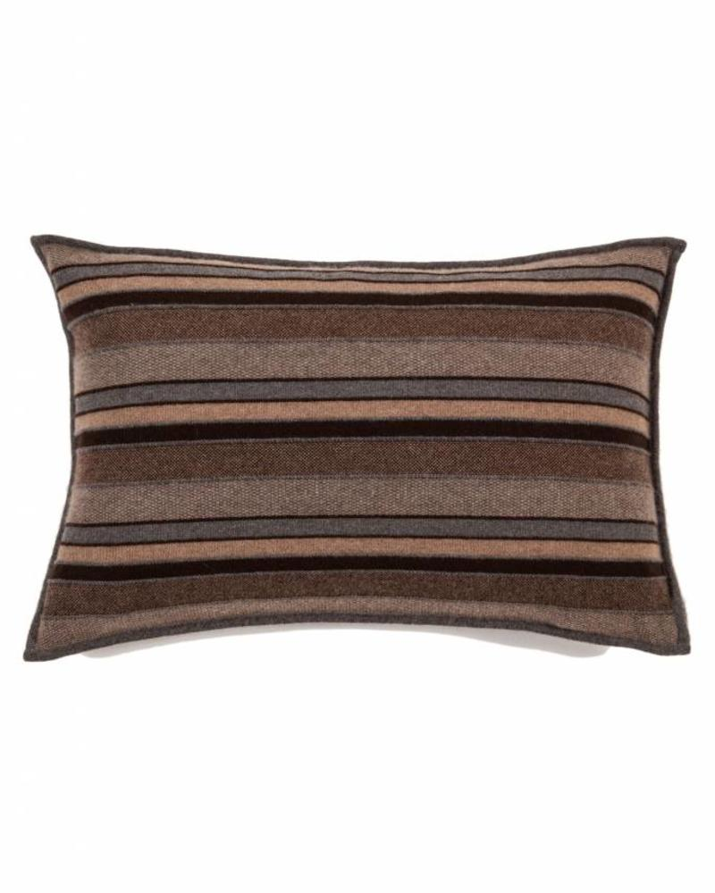 "CASHMERE KENT STRIPE JACQUARD PILLOW: 16"" X 24"" :ANTHRACITE-TAUPE-CHOCOLATE"