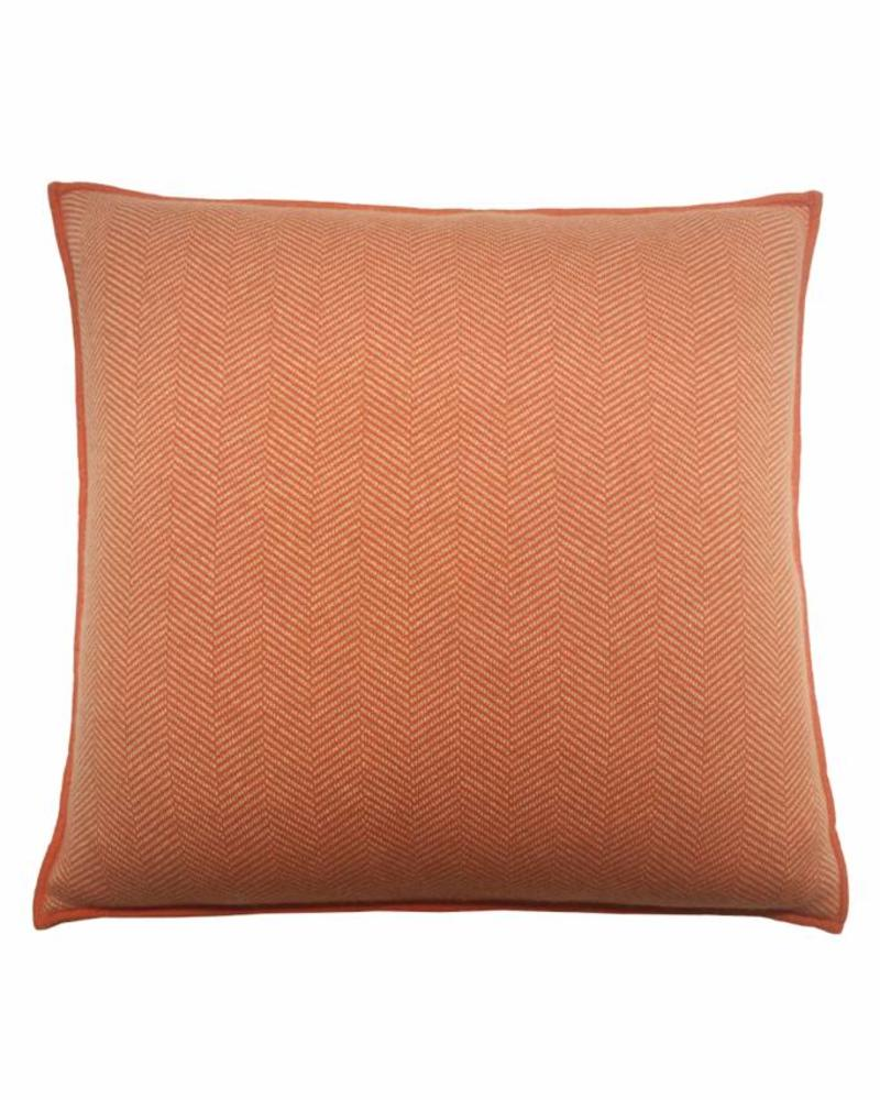 "HENRY CASHMERE HERRINGBONE PILLOW: 21"" X 21"": ORANGE-SAND"