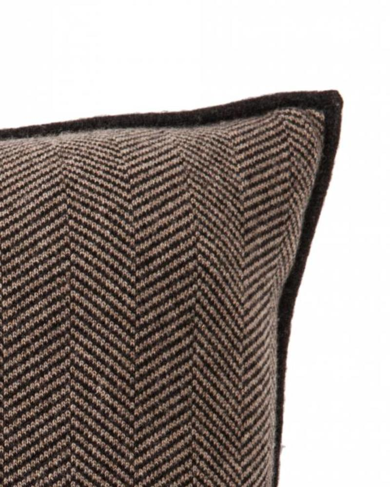 "HENRY CASHMERE HERRINGBONE PILLOW: 21"" X21"": CHARCOAL-TAUPE"