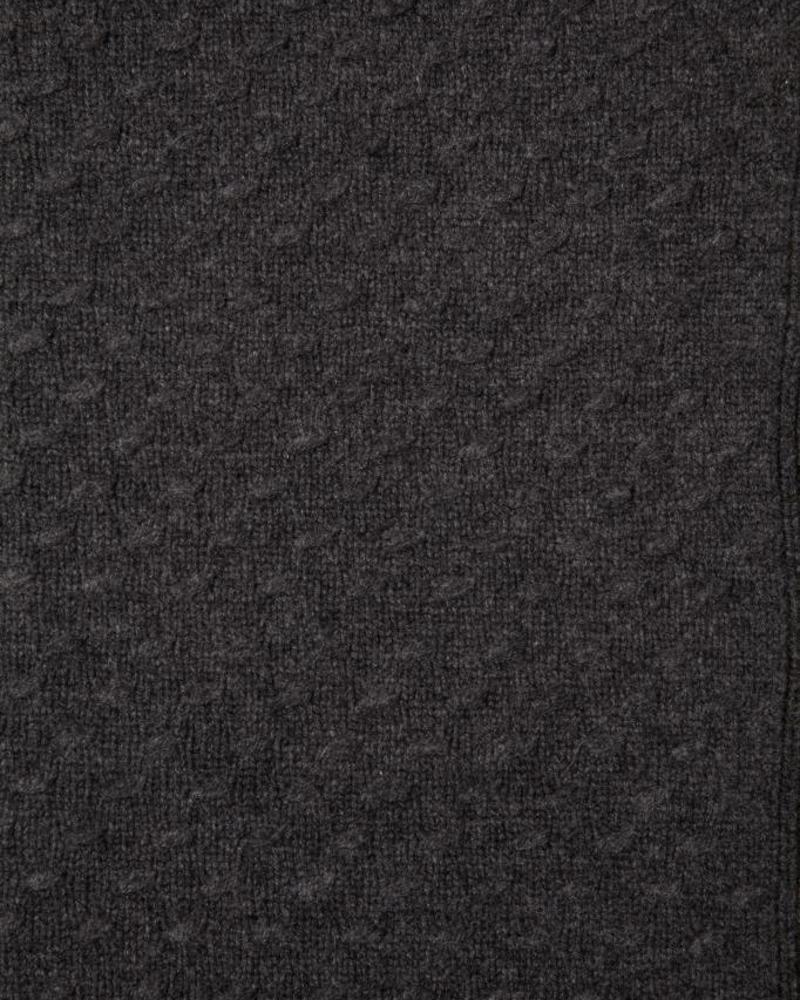 """FILETTO: 100% CASHMERE THROW: 52"""" X 74"""":  CHARCOAL"""