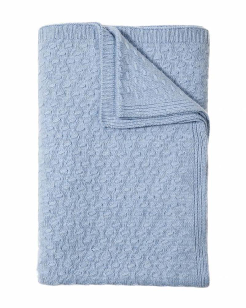 "FILETTO: 100% CASHMERE THROW: 52"" X 74"": BLUE"