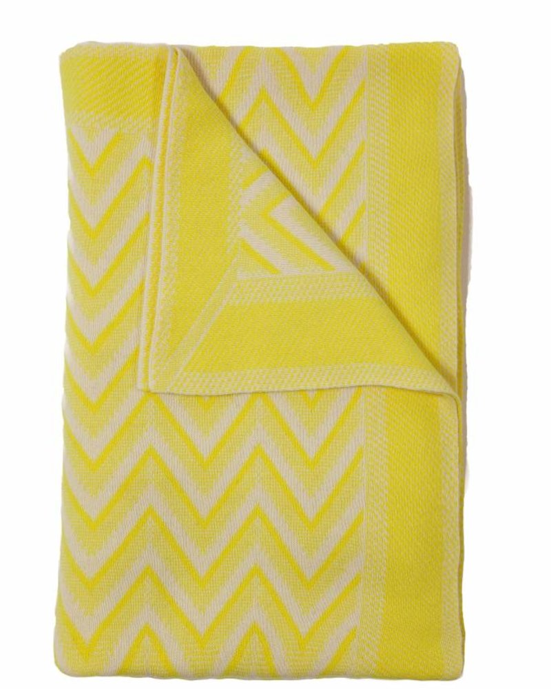 "DILLON MODERN HERRINGBONE THROW: 50"" X 70"": YELLOW-IVORY"