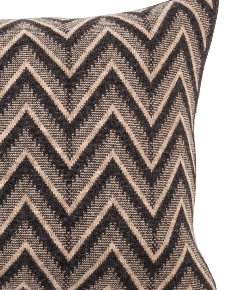 "DILLON MODERN HERRINGBONE PILLOW: 16"" X 24"": ANTHRACITE-BEIGE"