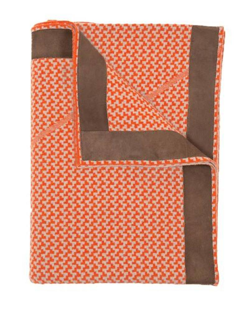 "DENVER  CASHMERE JACQUARD THROW SUEDE BORDER: 52"" X 72"": ORANGE-SAND"