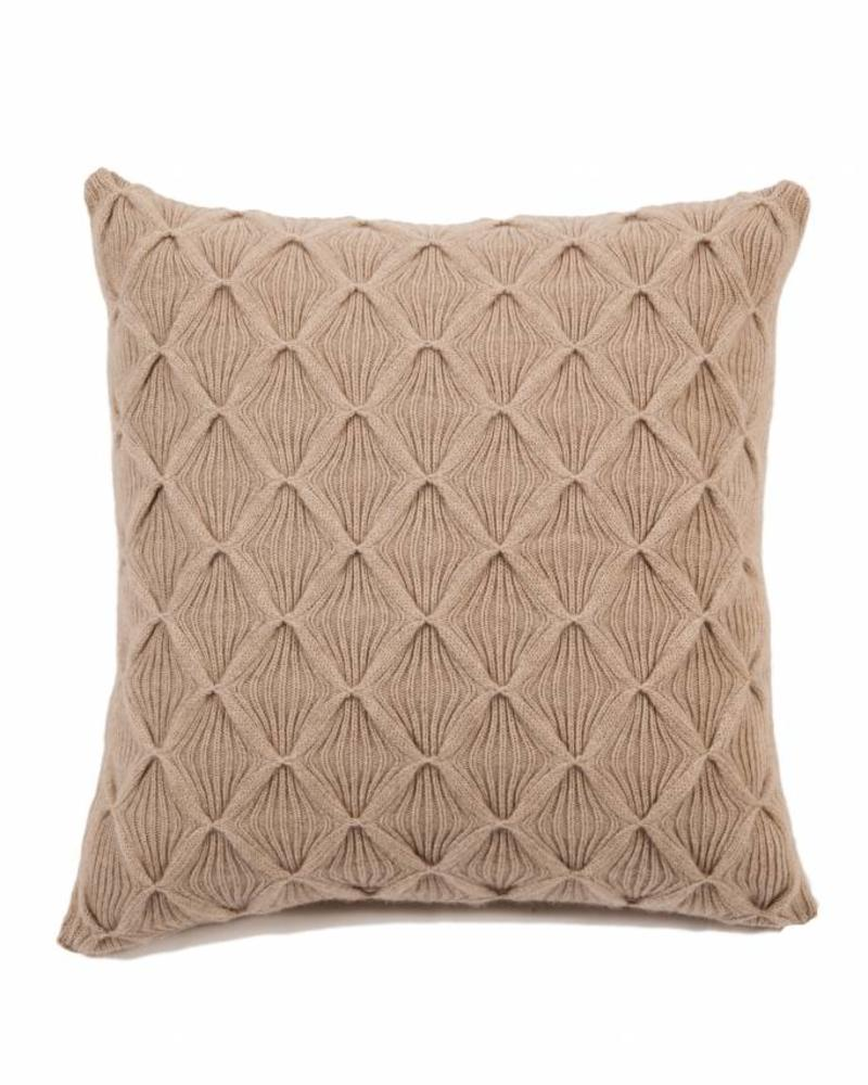 "COMO CASHMERE BLEND KNITTED ARGYLE PILLOW: 21"" X 21"": BEIGE"