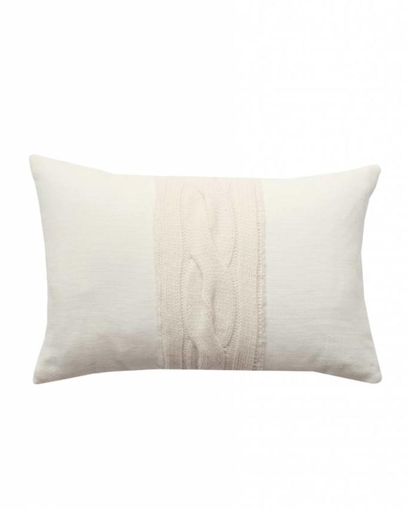 "CLARIDGES PILLOW: 12"" X 18"": IVORY-IVORY"