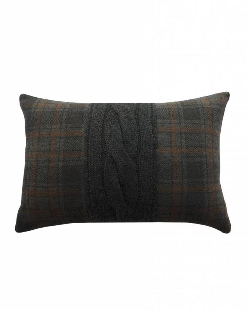 "CLARIDGES PILLOW: 12"" X 18"": GRAY"