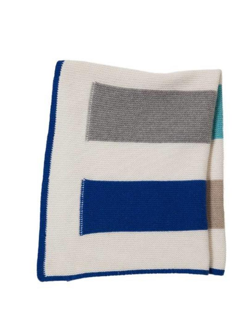 "YOYO BABY STRIPED BLANKET: 26"" X 35"": BLUE"