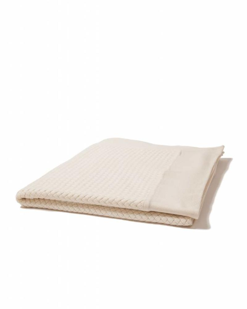 "DIAGONAL CRISS CROSS THROW: 52"" X 72"": IVORY"