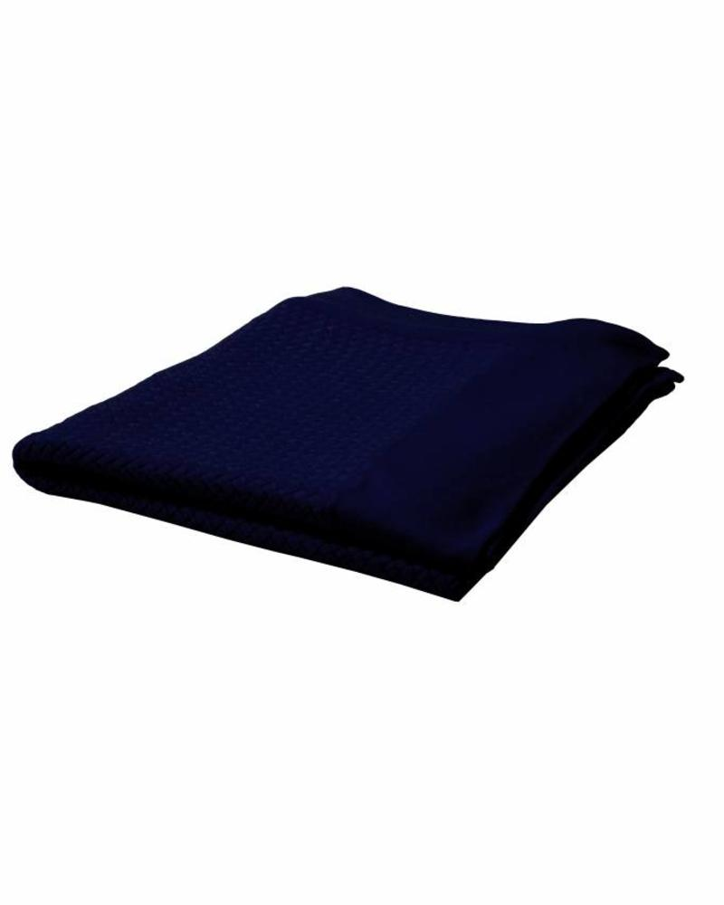 "DIAGONAL CRISS CROSS THROW: 52"" X 72"": NAVY"