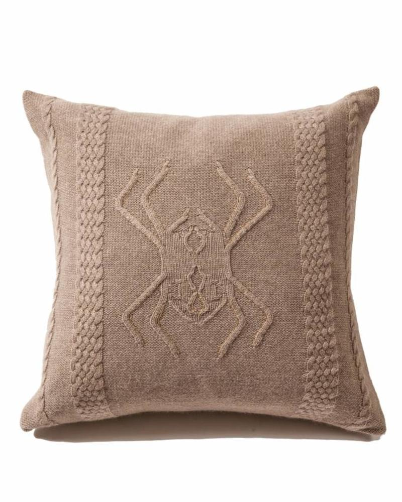 "CASHMERE INTARSIA SPIDER KNITTED PILLOW: 21"" X 21"": TAUPE"