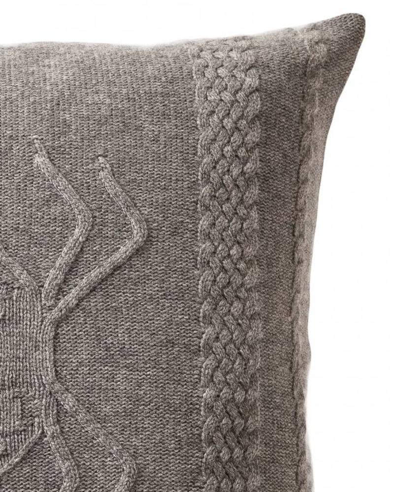 "CASHMERE INTARSIA SPIDER KNITTED PILLOW: 21"" X 21"": GRAY"