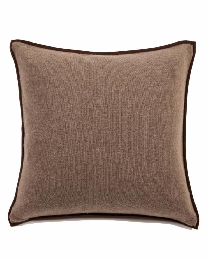 "PORTOFINO CASHMERE BLEND PILLOW WITH ULTRA-SUEDE BORDER: 21""X 21"": TAUPE"