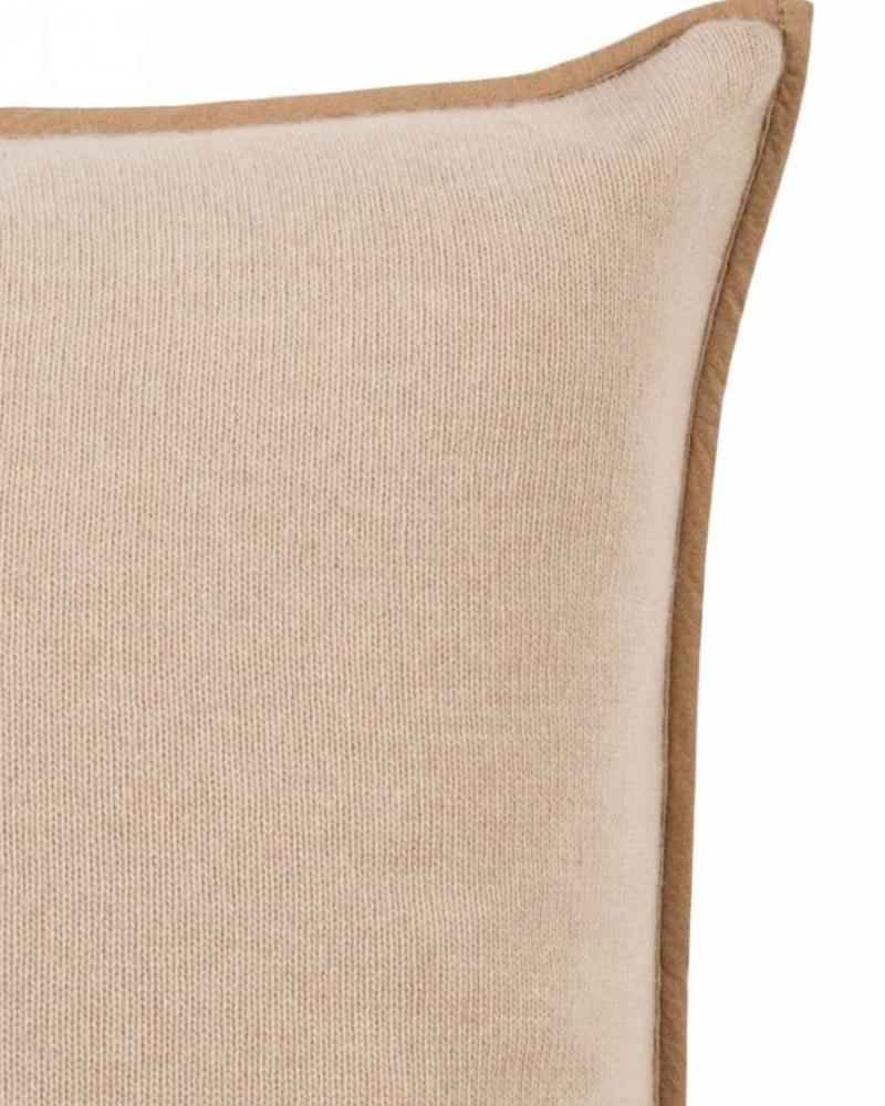 "PORTOFINO CASHMERE BLEND PILLOW WITH ULTRA-SUEDE BORDER: 21"" X 21"": SAND"