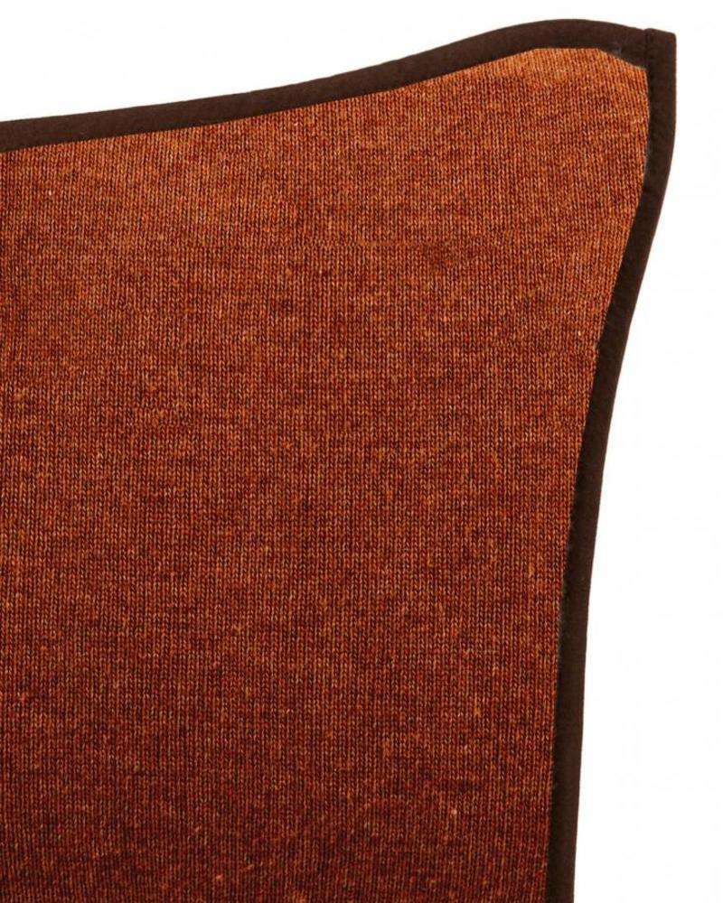 """PORTOFINO CASHMERE BLEND PILLOW WITH ULTRA-SUEDE BORDER: 21""""X 21"""": BURNT"""