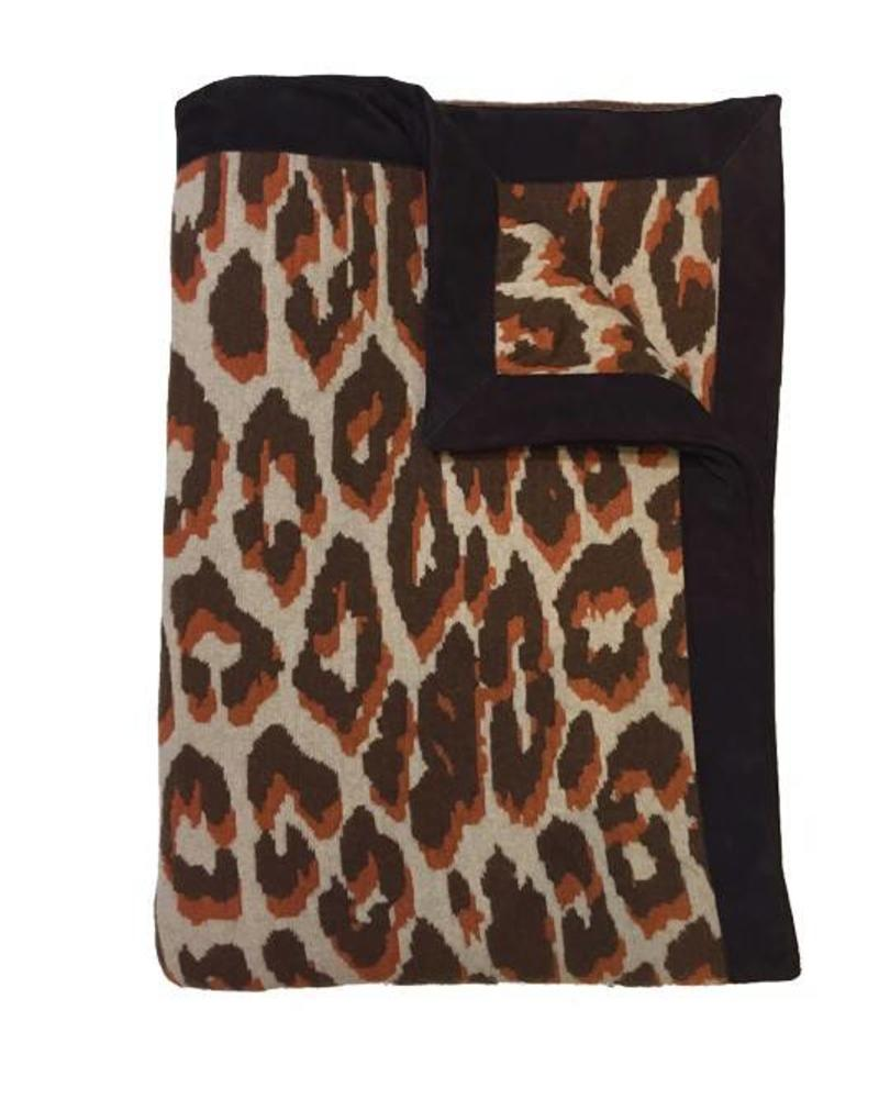 "CASHMERE BLEND LEOPARD THROW WITH SUEDE BORDER: 52"" X 75"": TERRA"