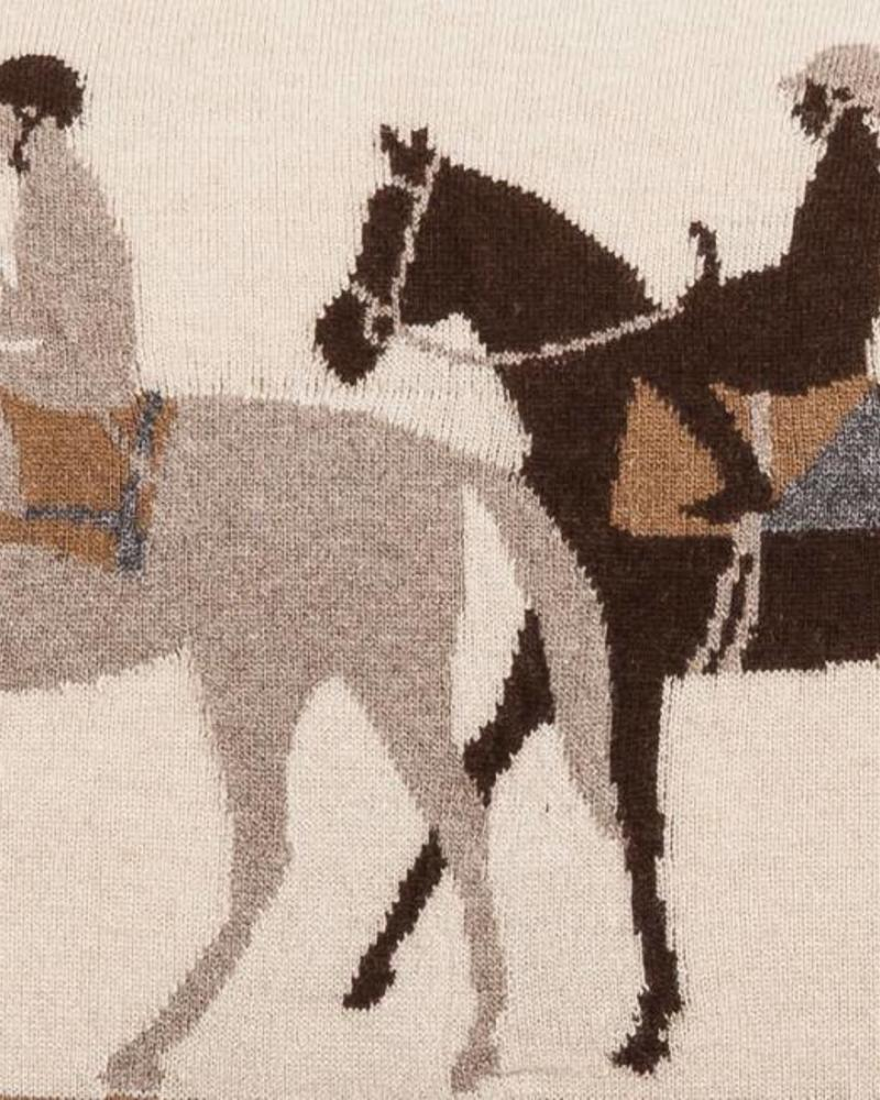 "KNITTED JOCKEY PILLOW WITH SUEDE CORNERS: 16"" X 24"": SAND-TAUPE-CHOCOLATE"