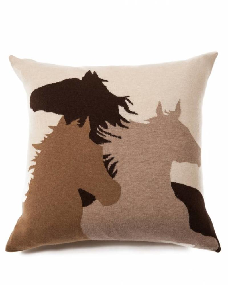 "HORSE PILLOW: 24"" X 24"": SAND-CAMEL-CHOCOLATE"