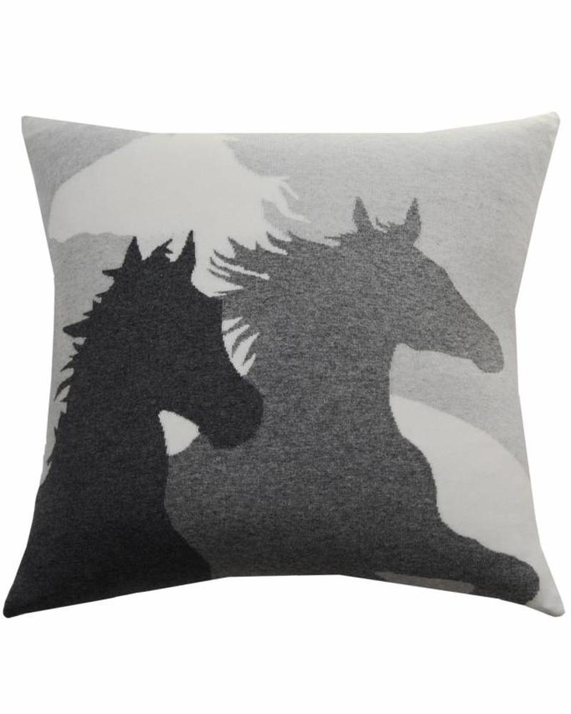 "HORSE PILLOW: 24"" X 24"": PEARL-GRAY-IVORY"