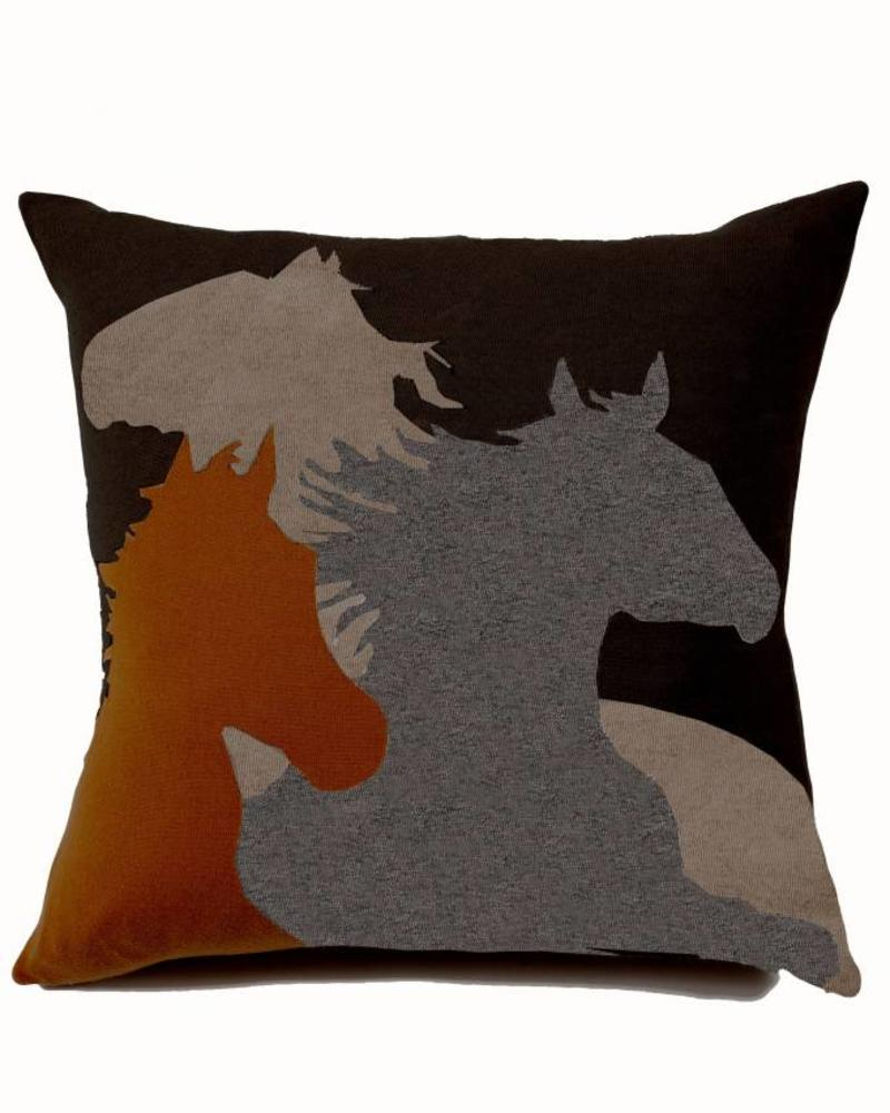 "HORSE PILLOW: 24"" X 24"": BURNT-BROWN-TAUPE-GRAY"