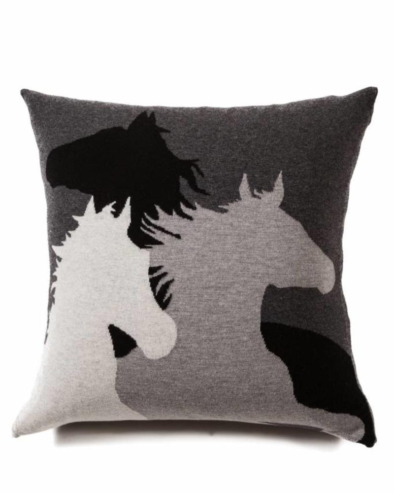 "HORSE PILLOW: 24"" X 24"": BLACK-GRAY-ANTHRACITE"