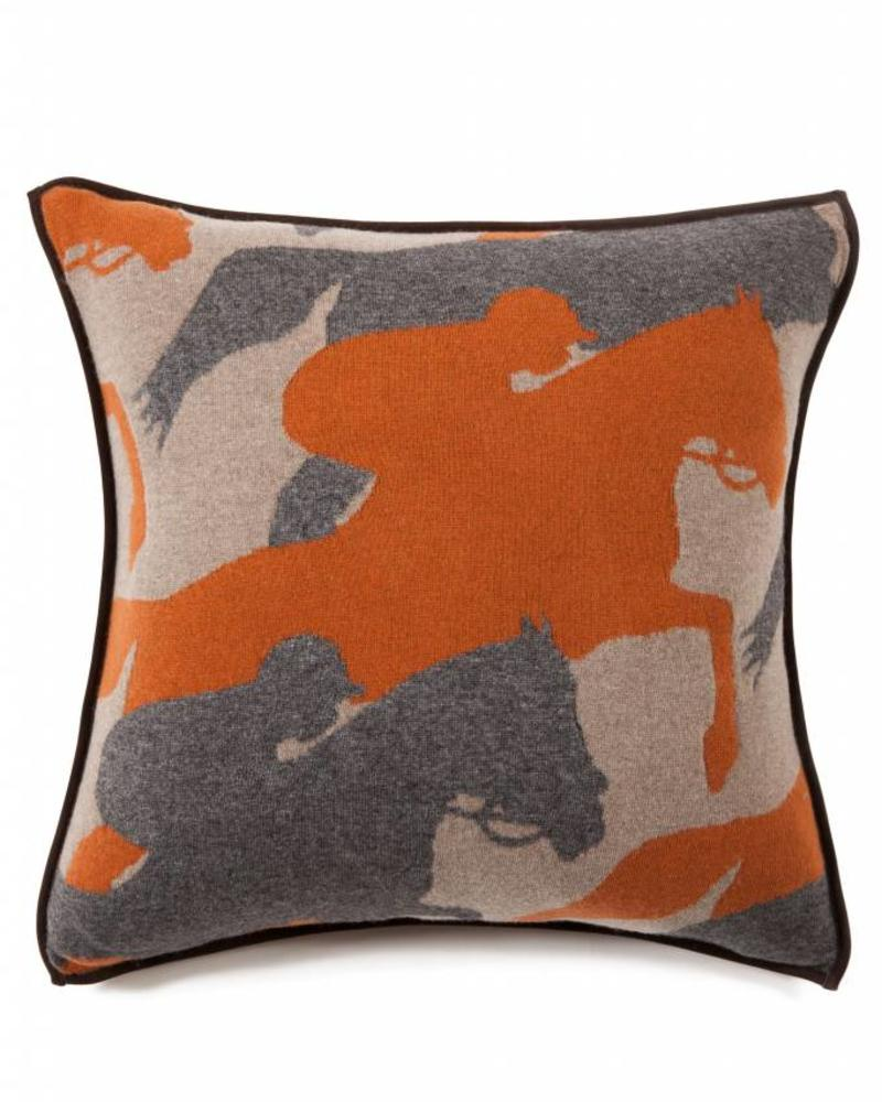 "KNITTED CANTERING HORSE PILLOW WITH SUEDE: 21"" X 21"": TAUPE-GRAY-TERRA"