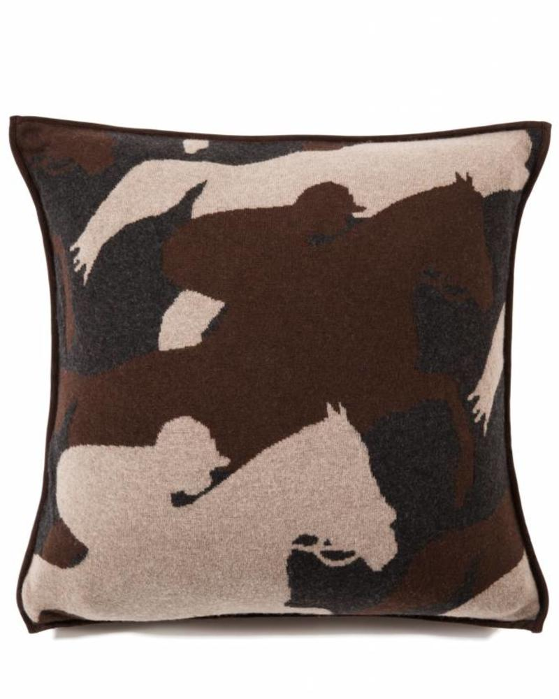 "KNITTED CANTERING HORSE PILLOW WITH SUEDE: 21"" X 21"": ANTHRACITE-TAUPE-CHOCOLATE"