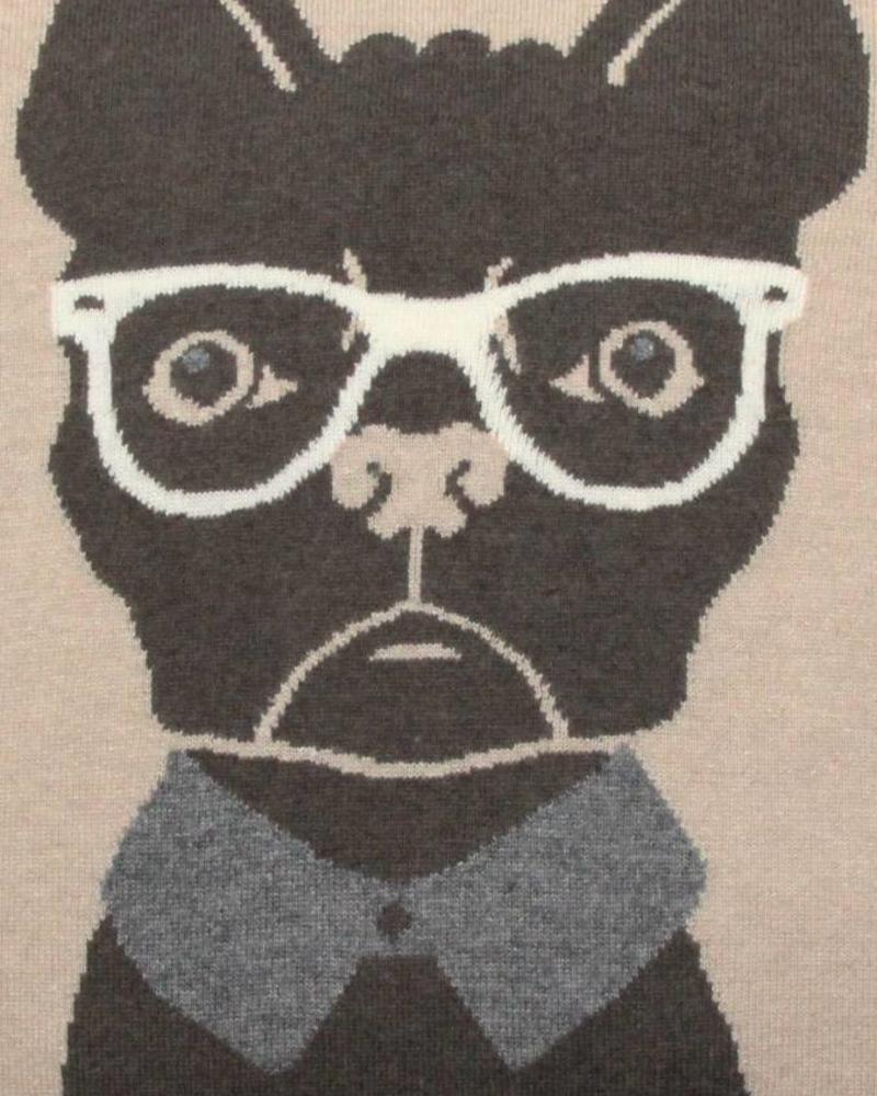 "CASHMERE DOG PILLOW: 21"" X 21"": BEIGE-CHOCOLATE"