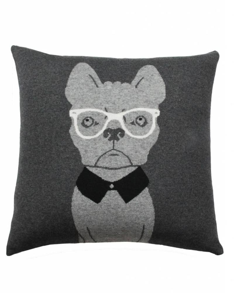 """CASHMERE DOG PILLOW: 21"""" X 21"""": ANTHRACITE-GRAY"""