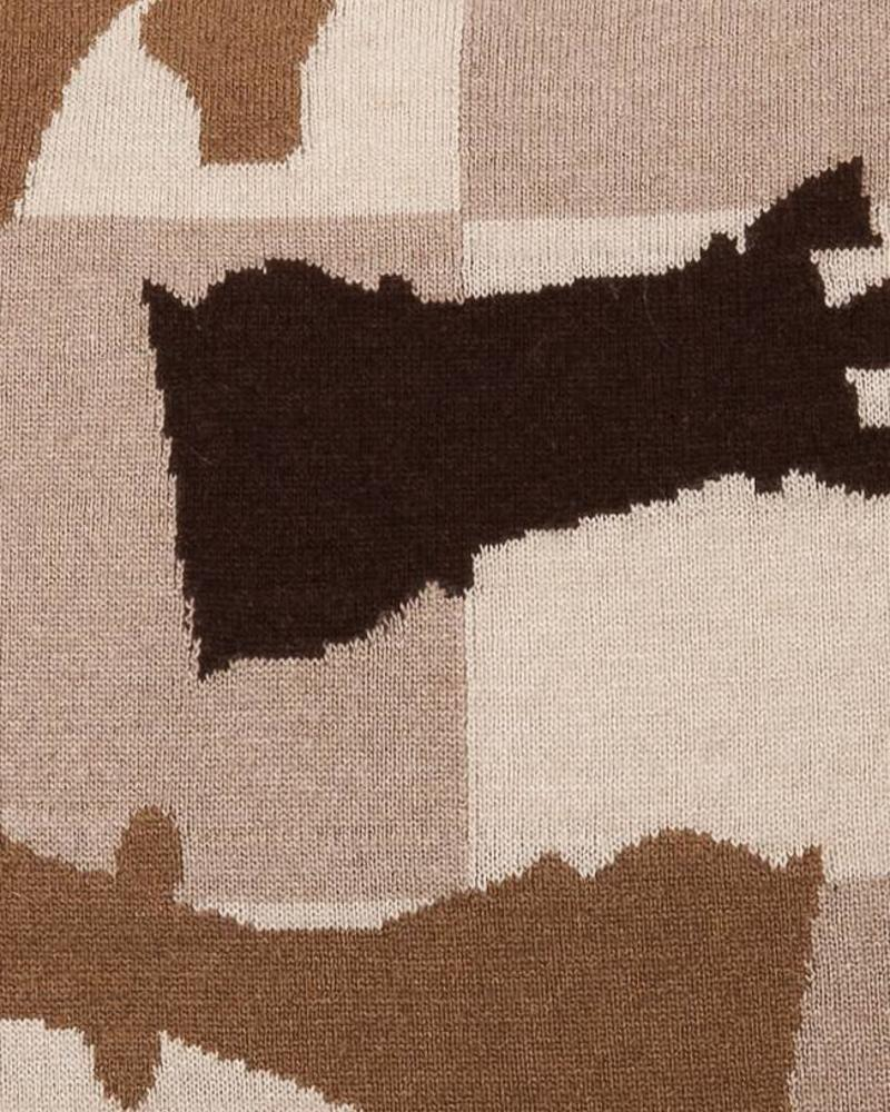 "CASHMERE BLEND KNITTED CHESS PILLOW: 21"" X 21"": CAMEL-TAUPE-CHOCOLATE"
