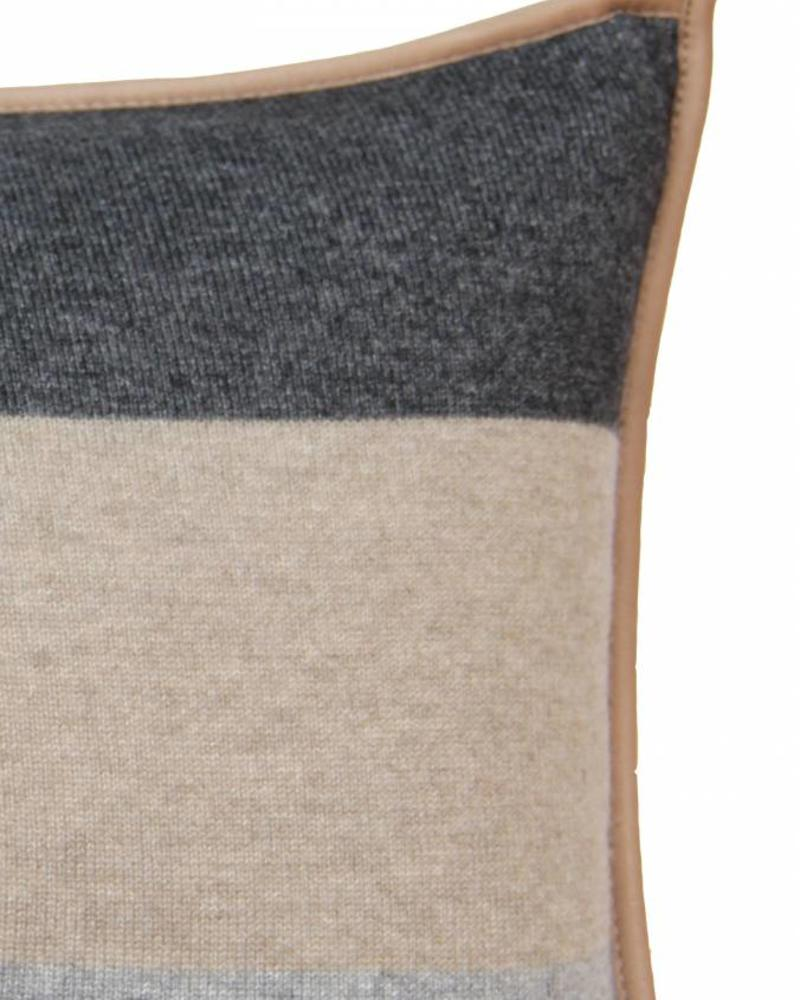 "CASHMERE STANFORD PILLOW: 12"" X 18"": BEIGE-GRAY"
